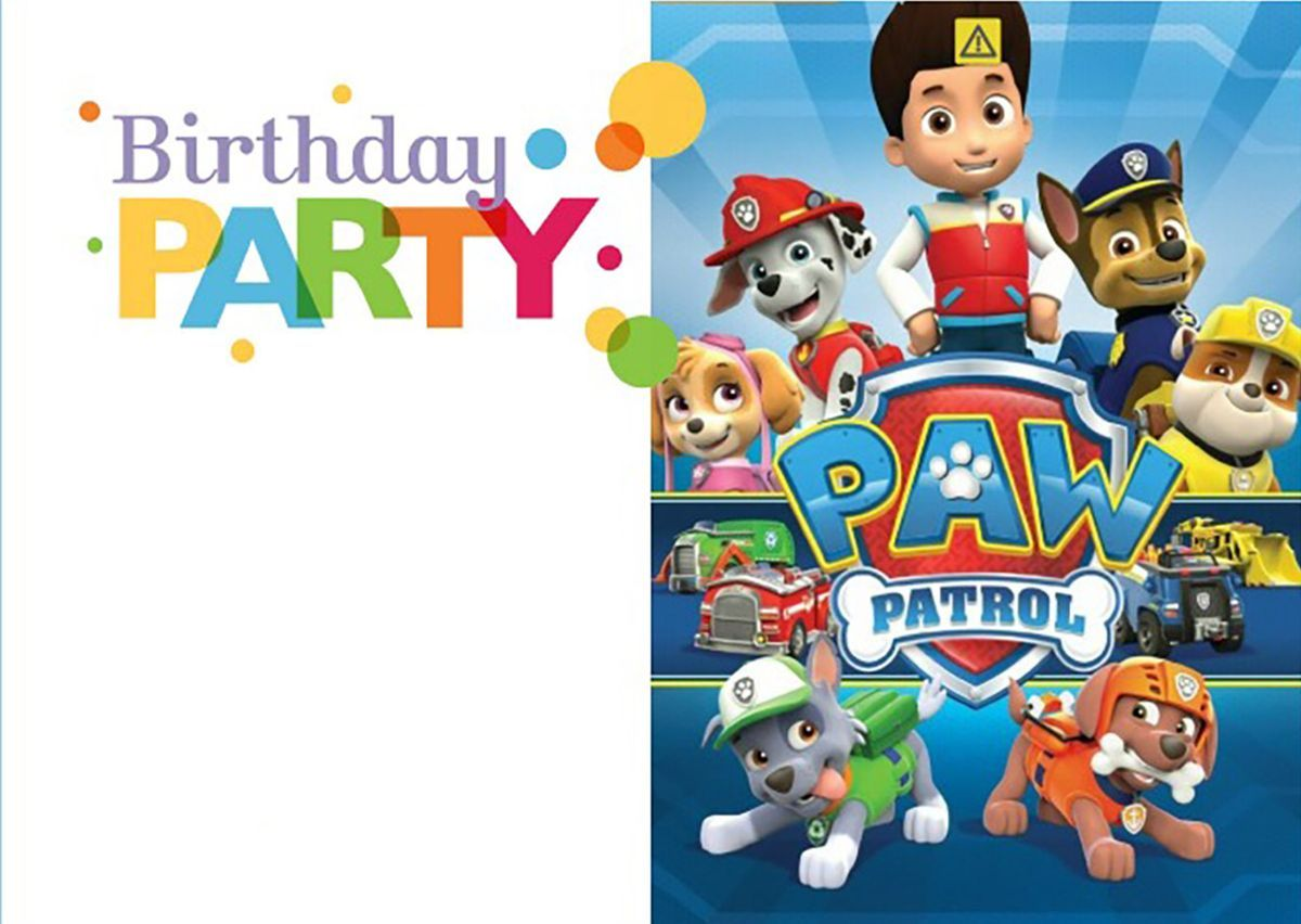 Printable Paw Patrol Birthday Invitation