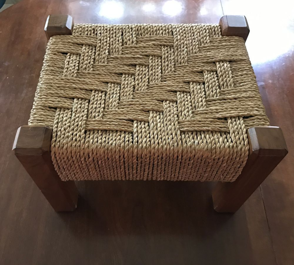 Pleasant Brown Wood Wicker Rattan Foot Stool Wooden Footstool 9 H X Gamerscity Chair Design For Home Gamerscityorg