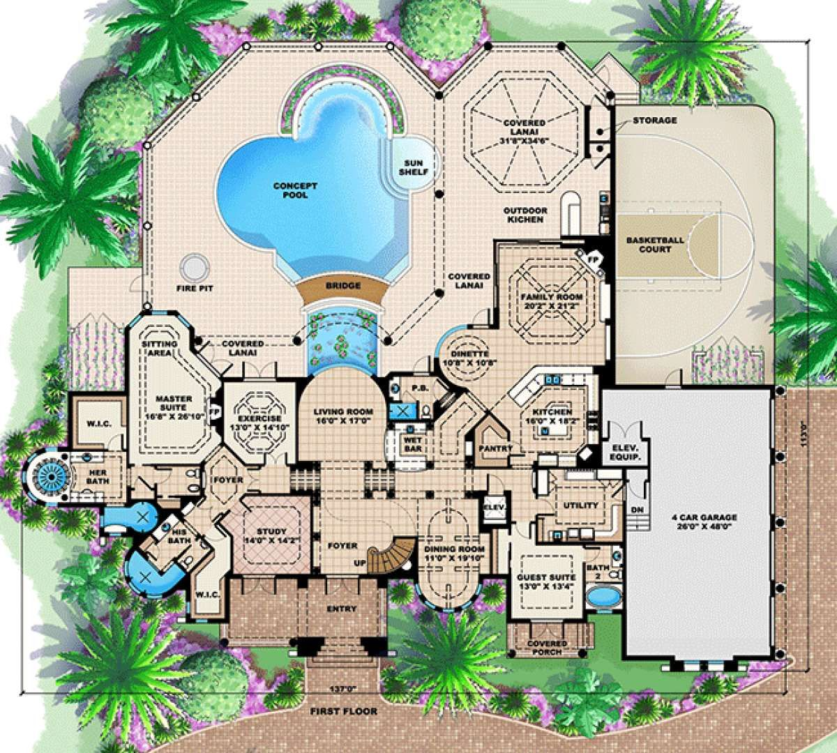 House Plan 1018 00182 Florida Plan 6 295 Square Feet 4 5 Bedrooms 7 Bathrooms In 2021 House Plans Floor Plan Design House Floor Plans
