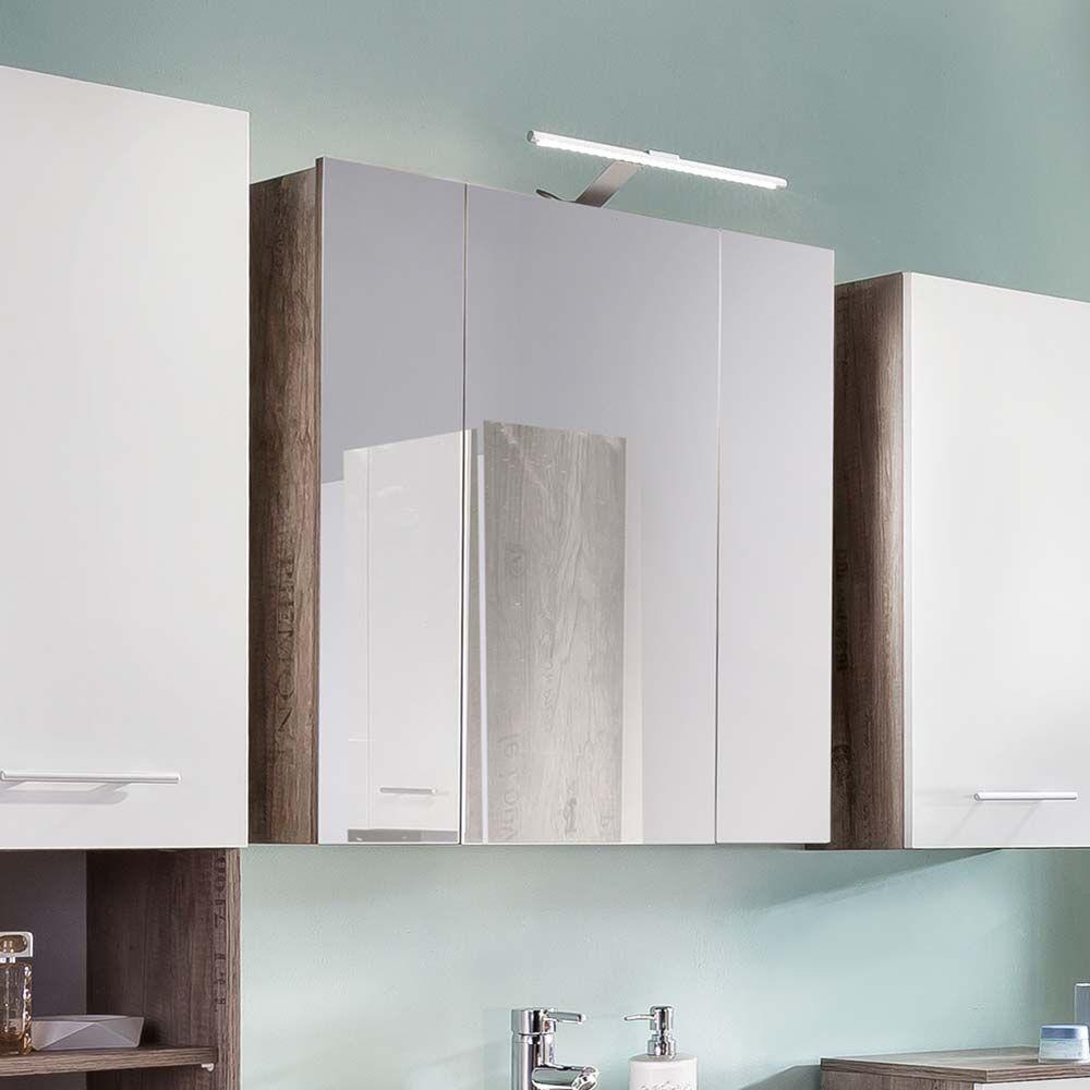 Badezimmer Spiegelschrank in Eiche Weinkisten Optik 60 cm breit