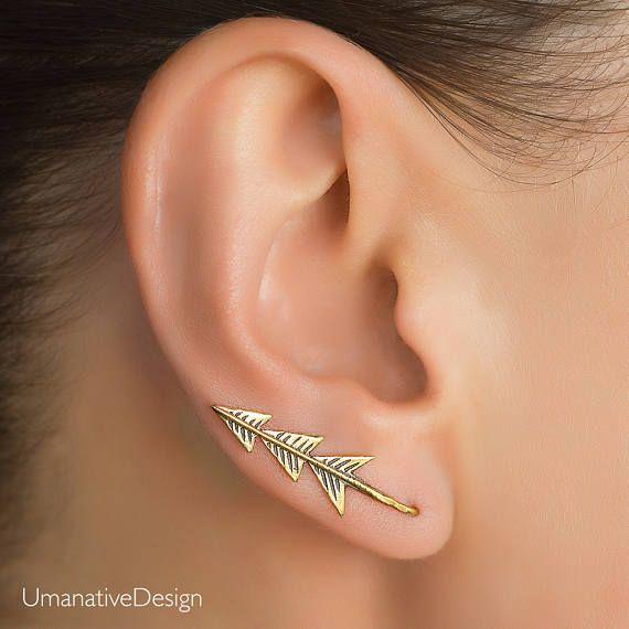 Calla Lily Earrings Sterling Silver Earrings Silver Ear Pin Silver Ear Climber Minimalist Earrings Silver Leaf Earrings