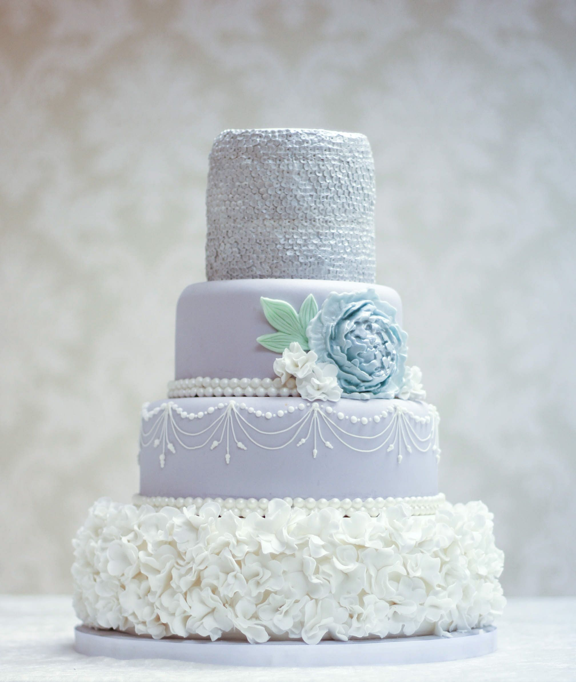 wedding #cake #ruffles #flowers #peony #pearls #sequins #glitter ...