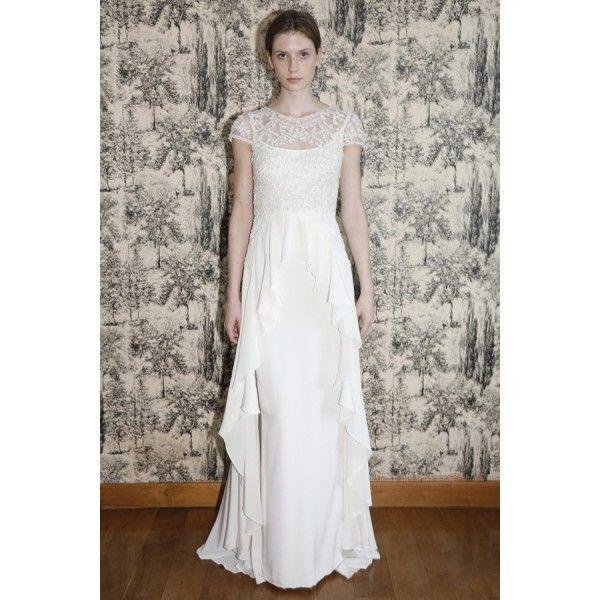 Lazaro Fall 2014 Wedding Dresses: Lace Cap Sleeves Full Length Wedding Dress