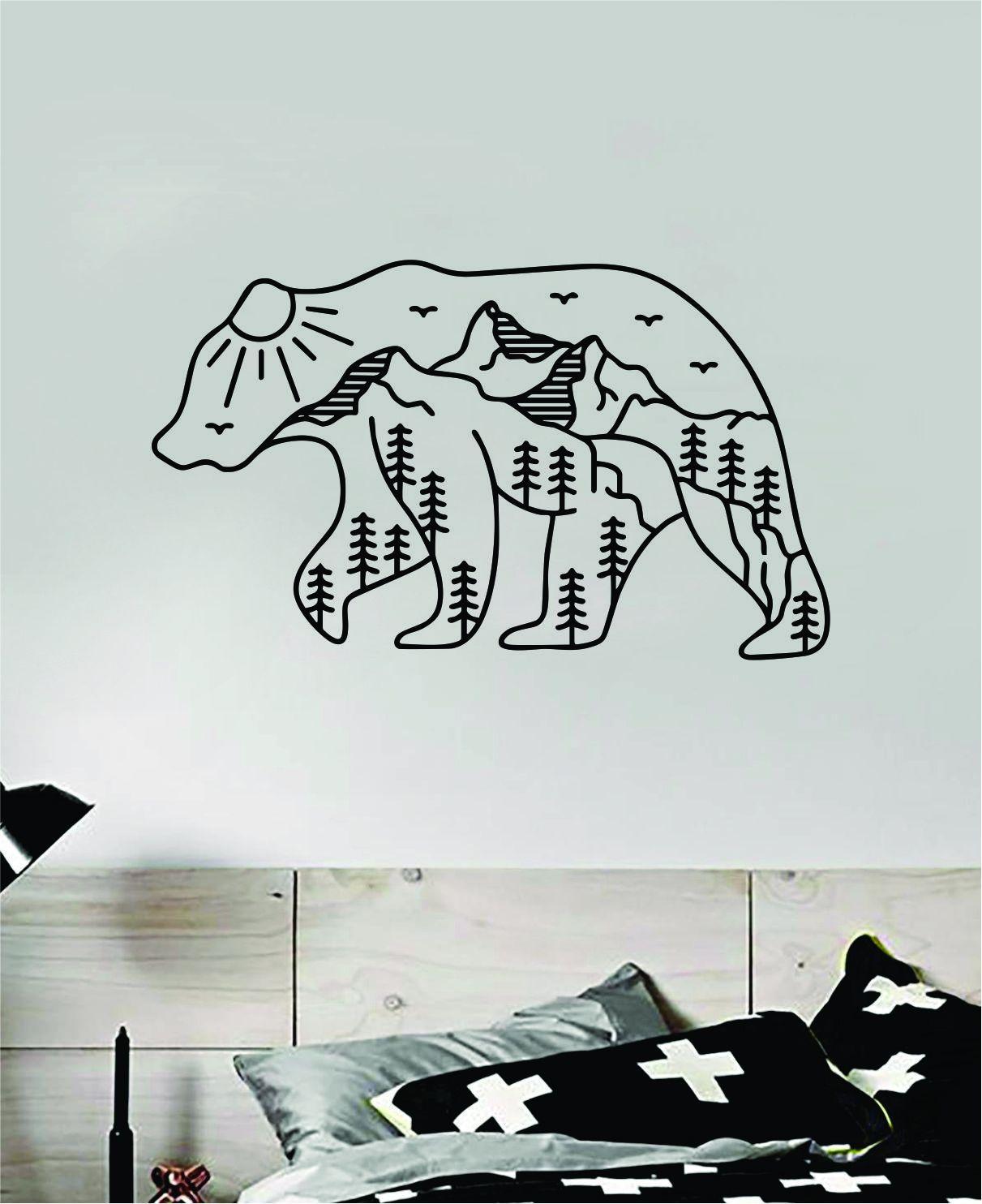 Bear Adventure Wall Decal Home Decor Room Bedroom Vinyl Art Sticker Animals Mountains Trees Travel Girls Baby Teen - grey