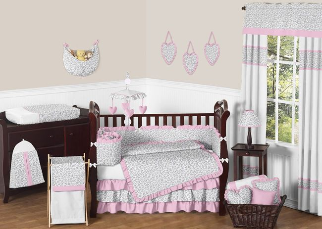 Luxury Pink And Gray Cheetah Animal Print Baby Bedding Crib Set