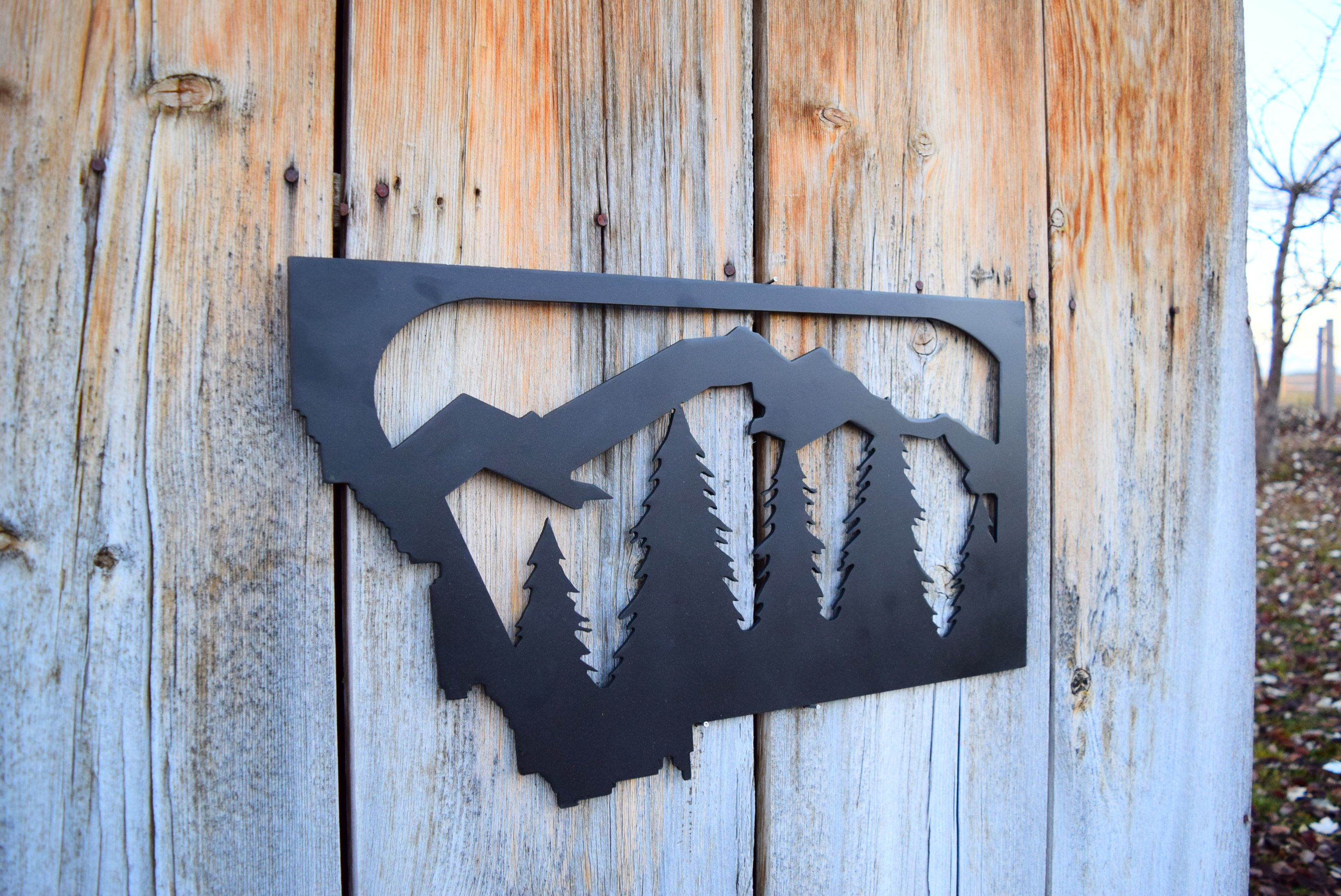 Copy Of Metal Montana Nature Sign Montana Mountains Wall Art Steel Nature Wall Nature Wall Art Mountain Wall Art Nature Wall