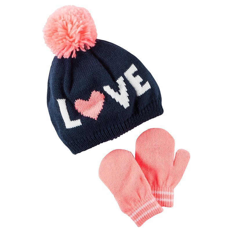 Baby Girl Carter s Knit-In Slogan Hat   Mittens Set  619500ddd8c