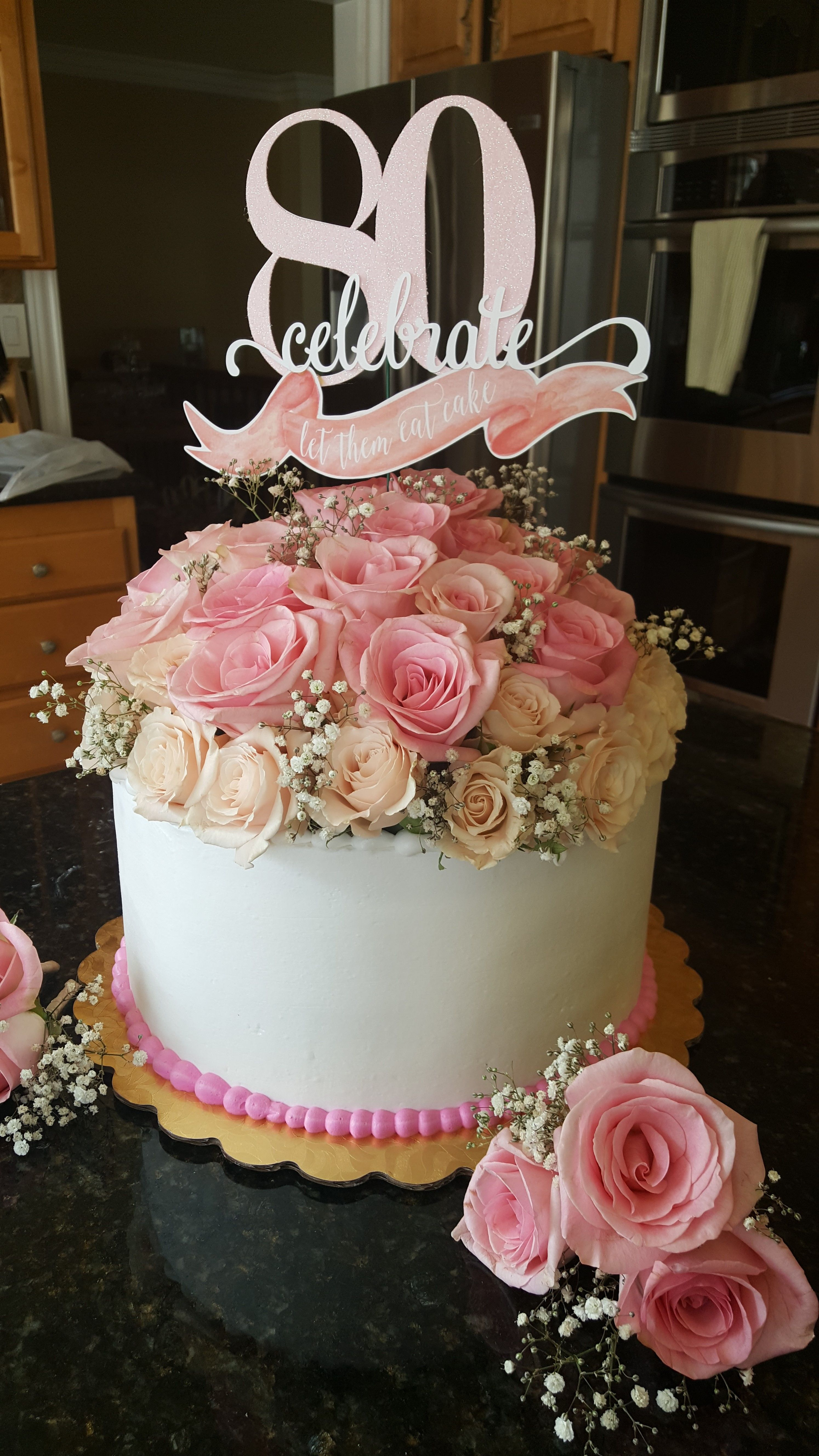 th birthday cake with fresh flower topper for grandma th cakes also best images rh pinterest