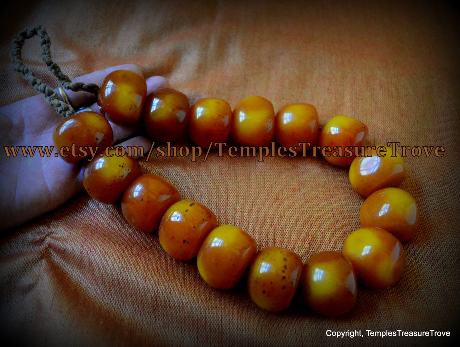 old traditional tibetan rich dark golden honey amber resin 16 fat bead necklace imported from kathmandu