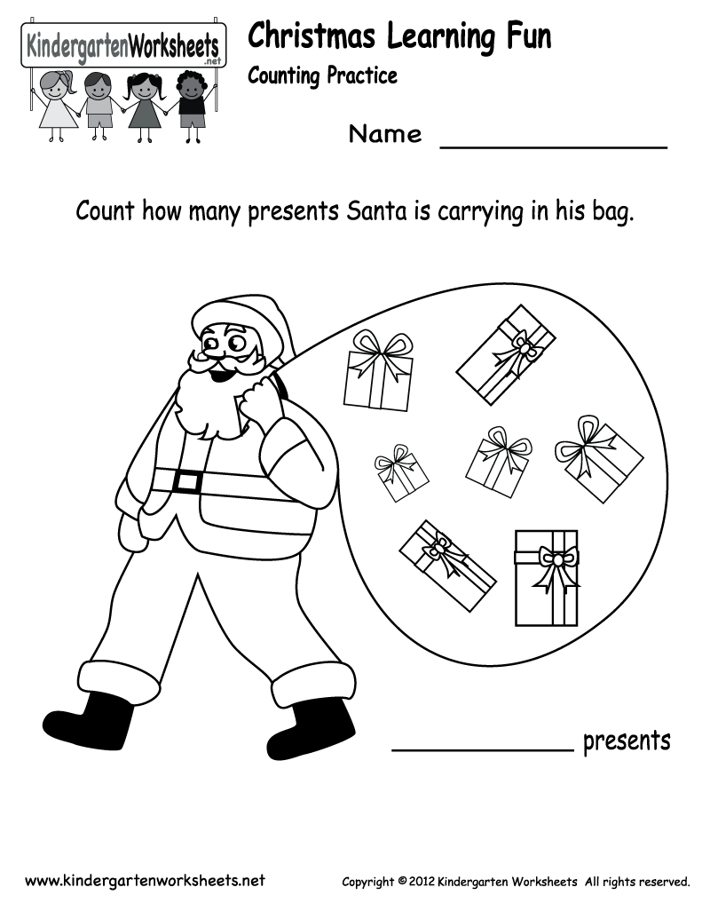 Free Printable Holiday Worksheets | Kindergarten Santa Counting ...