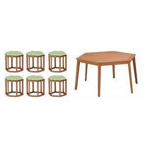 Natural Hexagonal Table & Stool Set