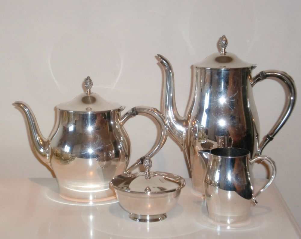 ONEIDA PAUL REVERE REPRODUCTION SILVER PLATED TEAPOT AND COFFEE POT ...