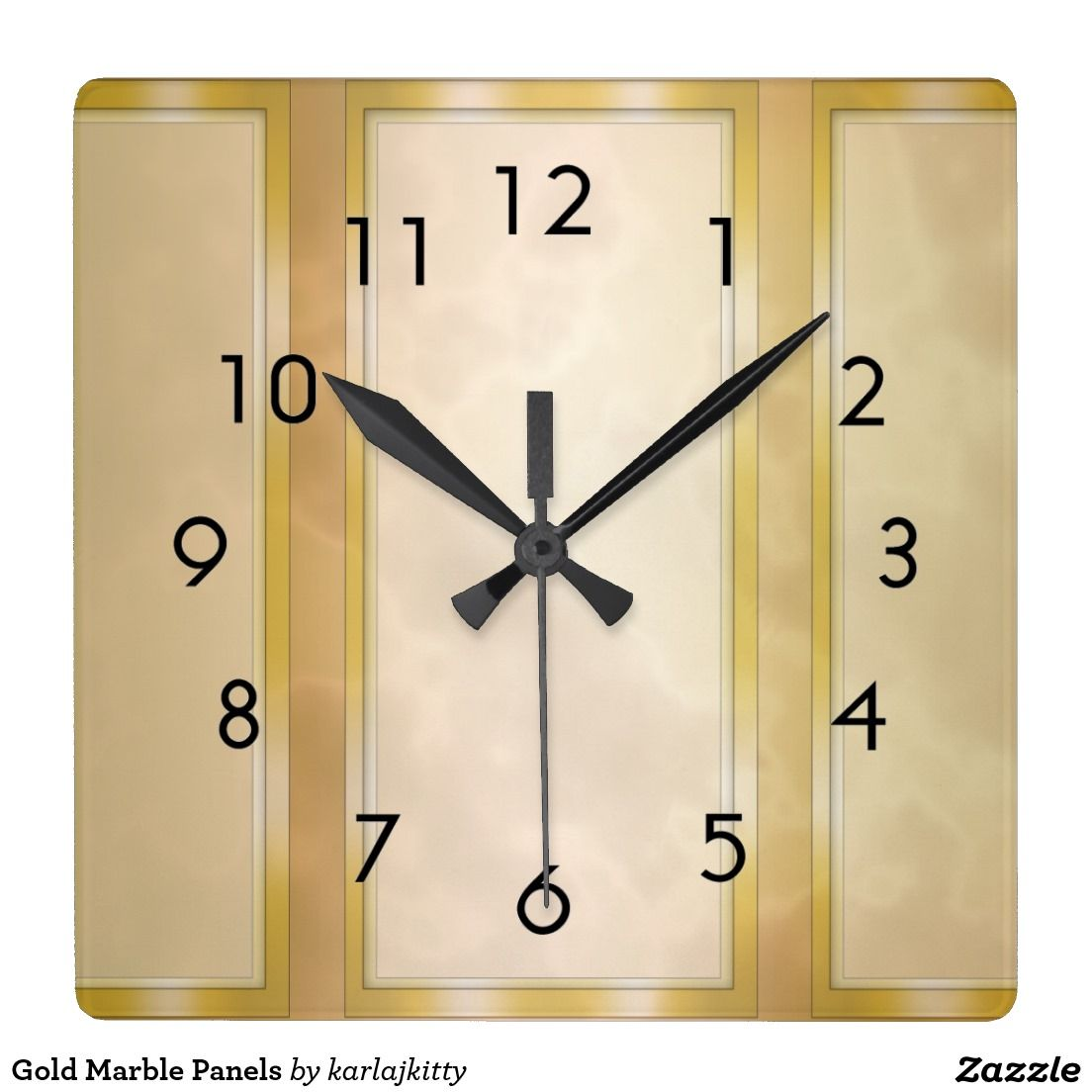 Gold Marble Panels Square Wallclock Large square acrylic clock with ...