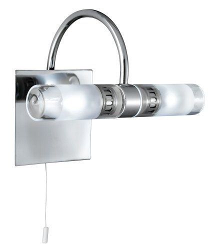 Chrome Finish Switched Bathroom Light Wall Bracket IP44 Rated
