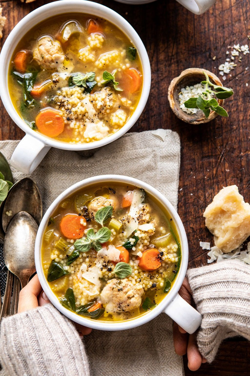 Healthier Italian Wedding Soup with Lemon and Garlic
