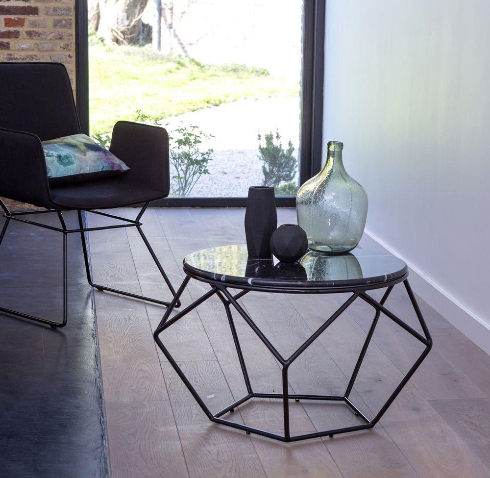 Tikamoon Black Marble And Metal Geometric Coffee Table Living Room