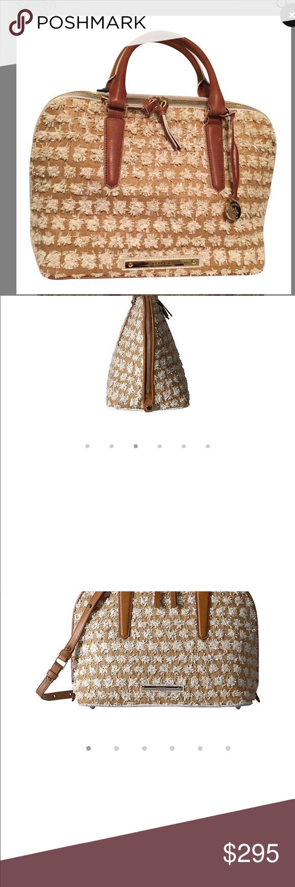 NWT Brahmin Handbag Brahmin Vivian White Bora Leather Handbag with white  puffs raffia adds a fun flair for a Great summer bag!! Pretty tan and white  with ... fc5769c34a