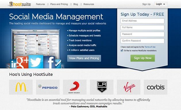 Landing Page Examples For Lead Generation Hootsuite Social Media Listening Tools Business Content Landing Page Examples