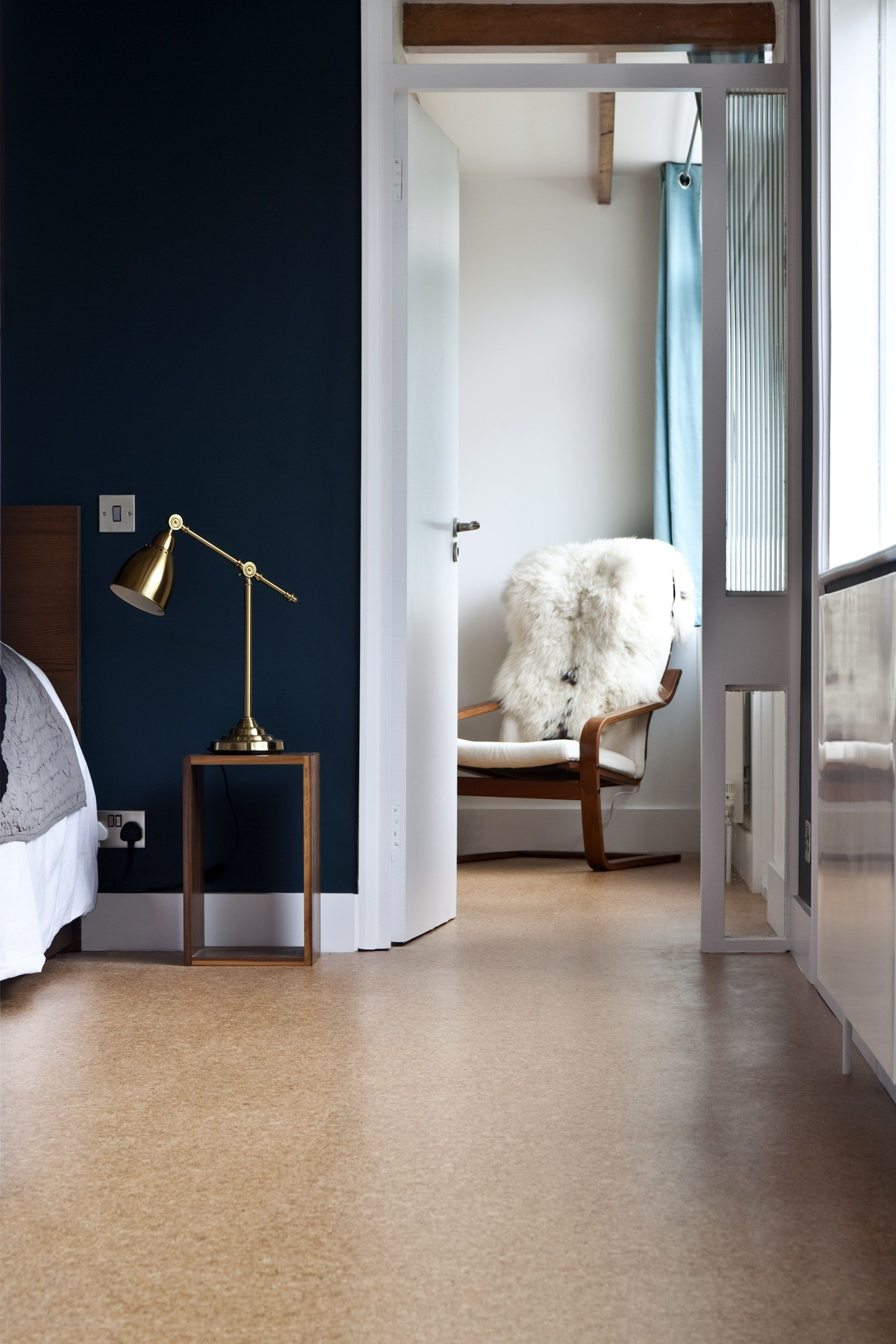 Cork and navy cork flooring mid century modern living