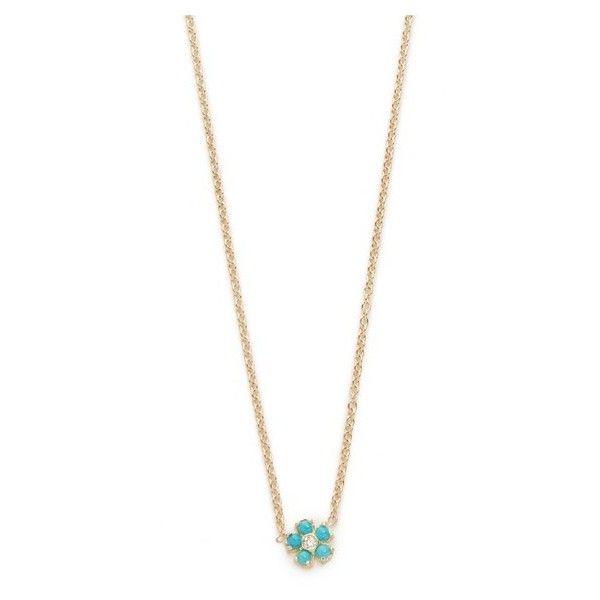 Jennifer Meyer 14k Gold Turquoise Flower Necklace w09DT