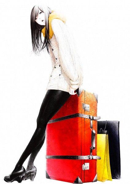 Tags: Pantyhose, High Heels, Suitcase, Looking Up, Spot Color, Sawasawa