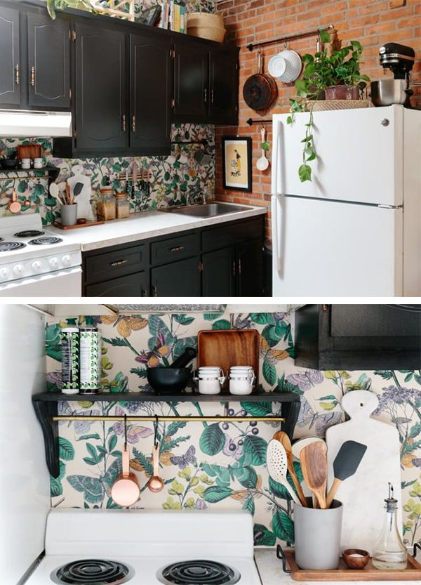 15 Ways To Use Removable Wallpaper Home Decor Kitchen Home Kitchens Home Remodeling