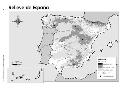 Mapa Relieve España Mudo.Recursos Primaria Coleccion De Mapas Mudos Fotocopiables