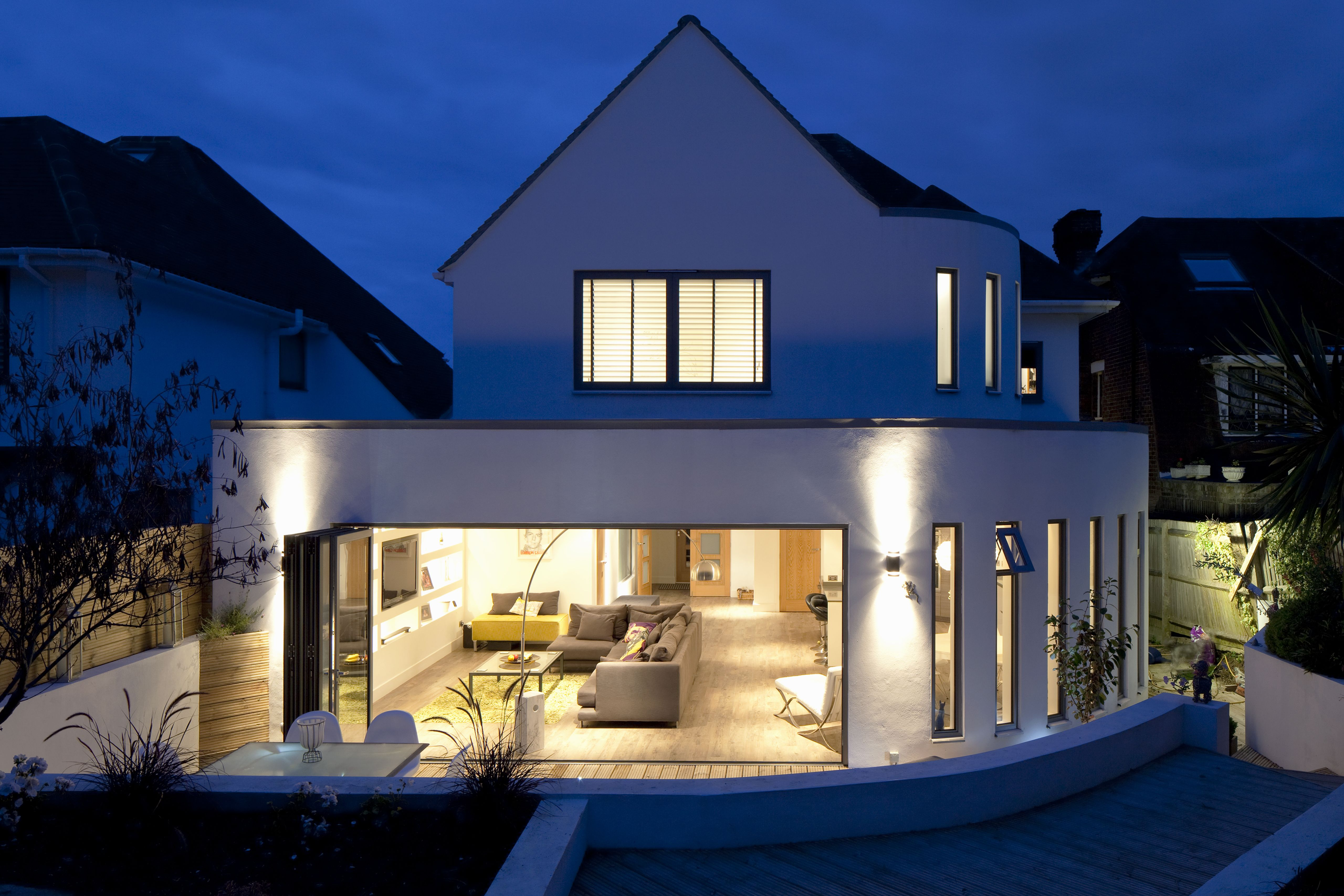 Rear Extension | Curved Wall | Slit Windows | Flat Roof | Feature Lighting  | Dusk
