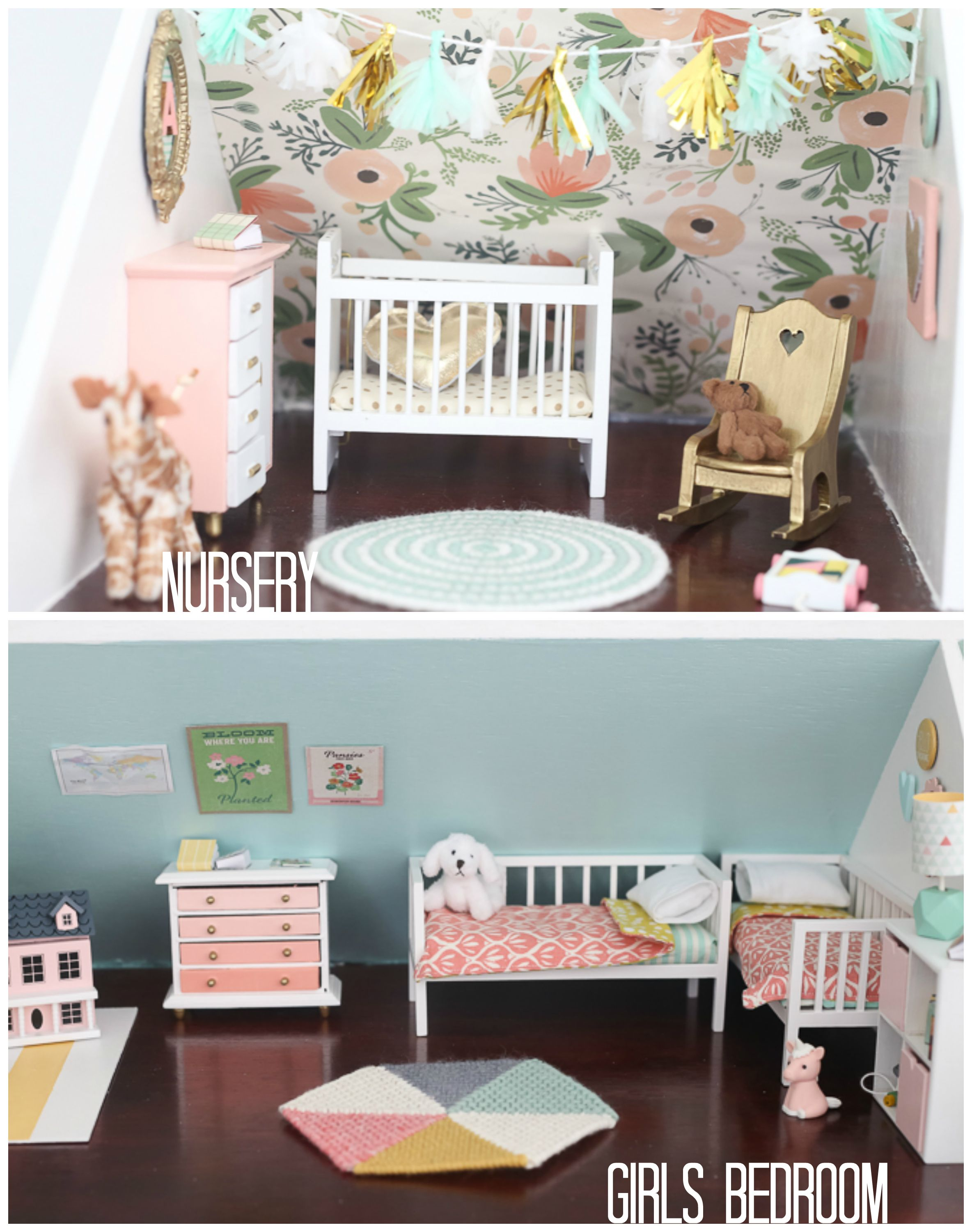 DIY DOLLHOUSE: THE GIRLS BEDROOM AND NURSERY | baby dolls and ...