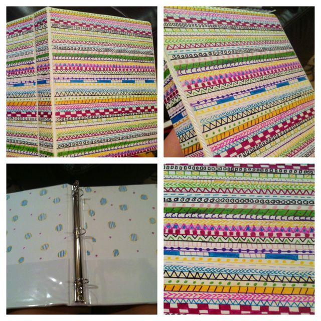 Aztec Classroom Decor ~ Decorated binder with sharpies aztec print super cool