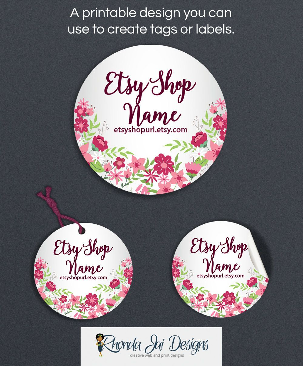photo relating to Printable Hang Tags identified as Floral Merchandise Tags - Merchandise Labels - Printable Spherical Label
