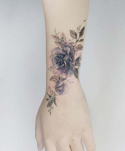 Photo of Beau tatouage de poignet rose bleue
