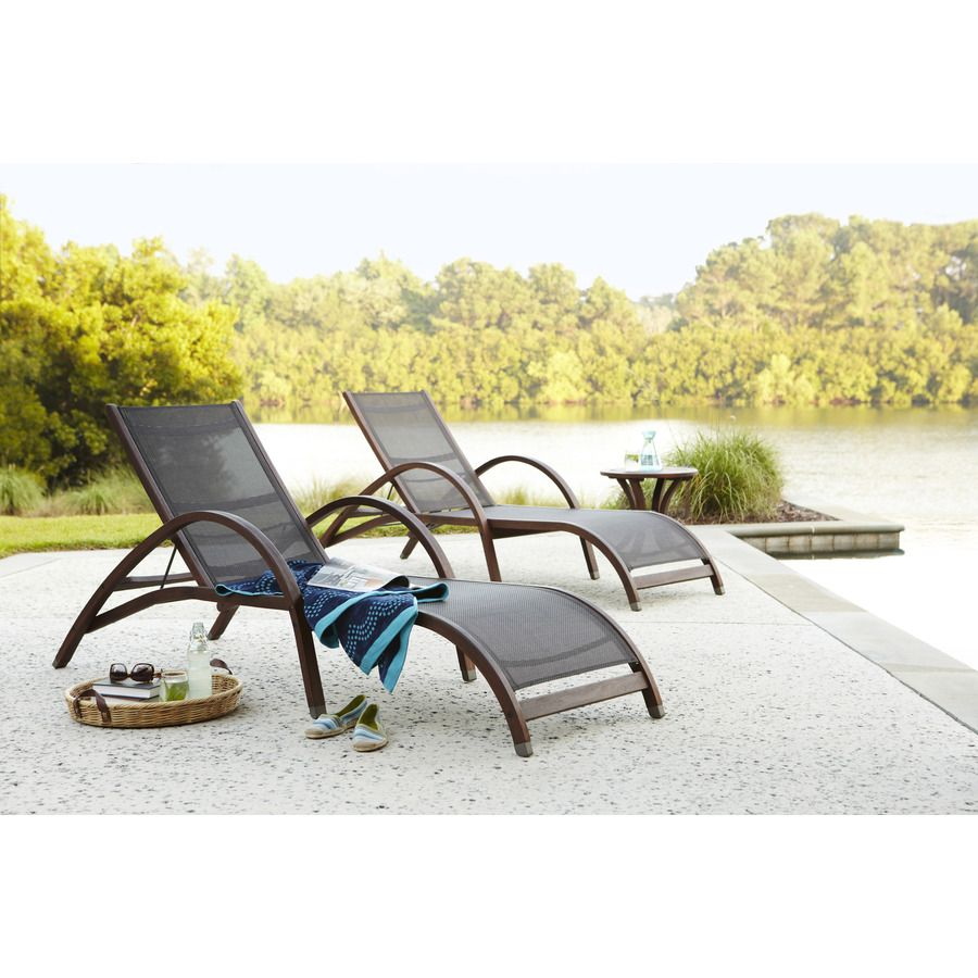 Shop allen roth woodwinds wood patio chaise lounge at for Allen roth steel patio chaise lounge