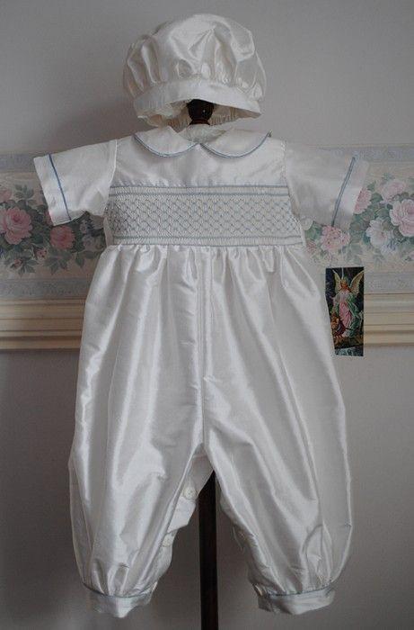 469796867 Handmade Silk Christening Romper and Cap - Antony Size 6 months ...
