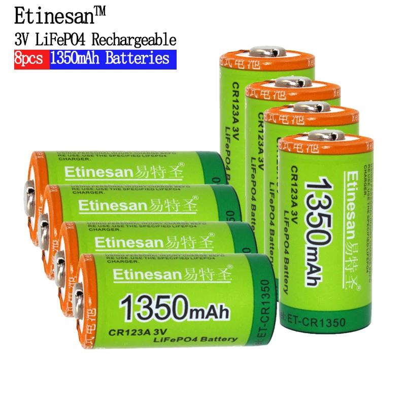 Super 8pcs Etinesan 1350mah 3v Cr123a Rechargeable Lifepo4 Battery Lit Ezbuypay Lithium Battery Lithium Battery Charger Rechargeable Batteries