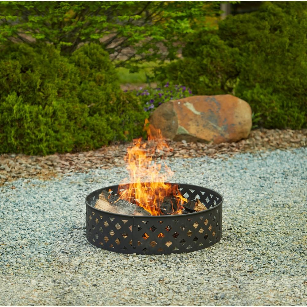 Hampton Bay 30 In Steel Fire Ring With Lattice Pattern In Black Ofw279fr The Home Depot Fire Pit Kit Fire Pit Lattice Pattern