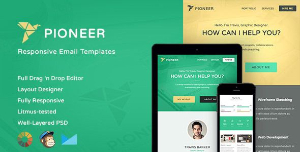 Pioneer-Professional Email Template + Editor Editor, Icons and - professional email template
