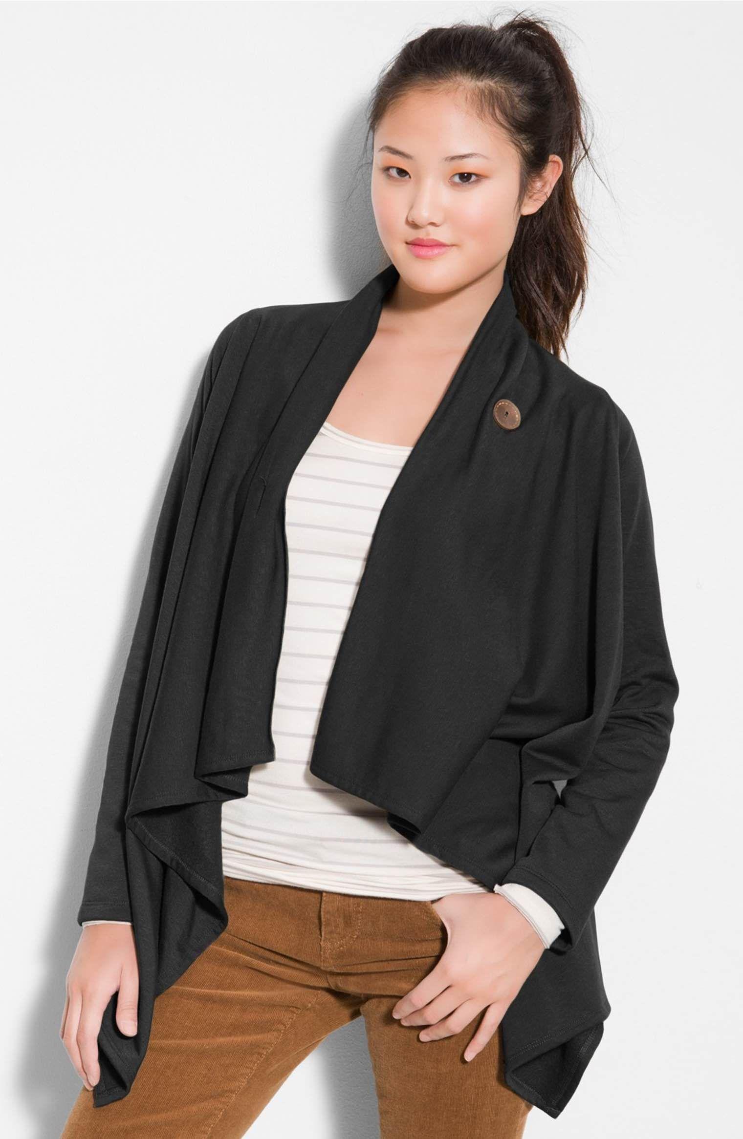 Main Image - Bobeau One-Button Fleece Wrap Cardigan (Regular & Petite)