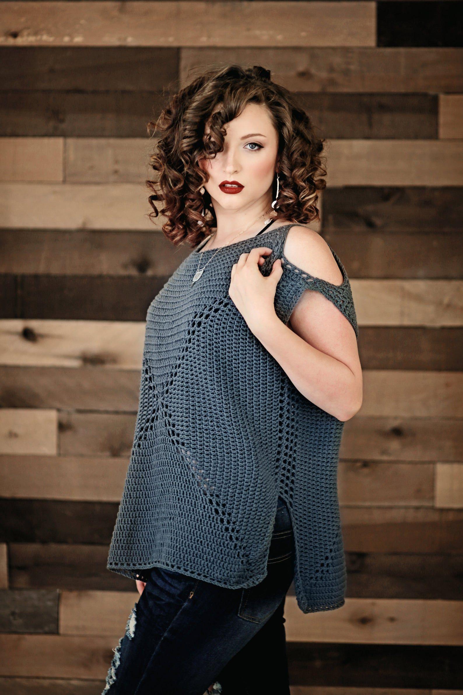 PDF Pattern ColdShoulder Granny Crochet Top Etsy in