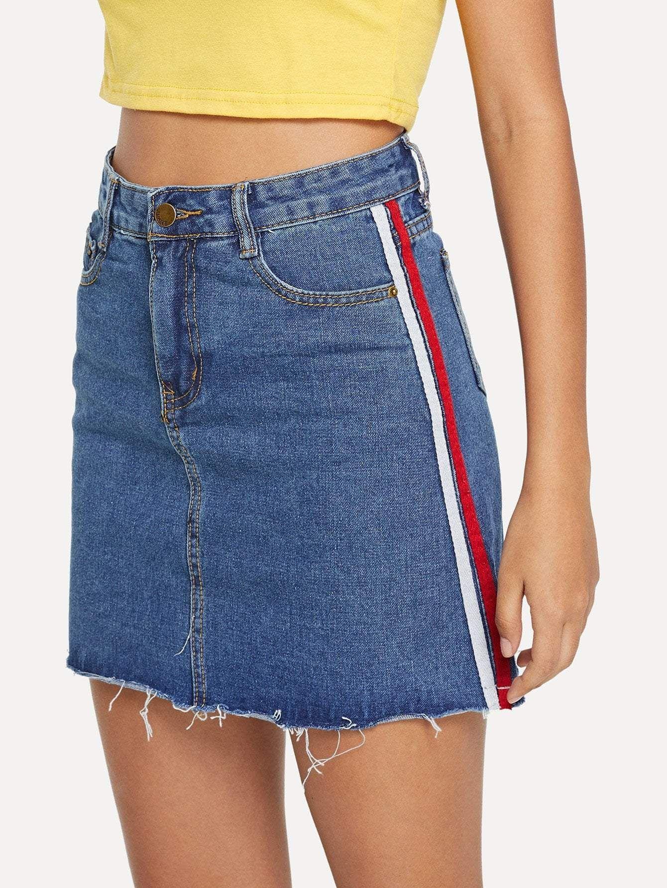 029975e02 ribbon raw hem denim skirt. #denimskirts #denim #women #fashion ...