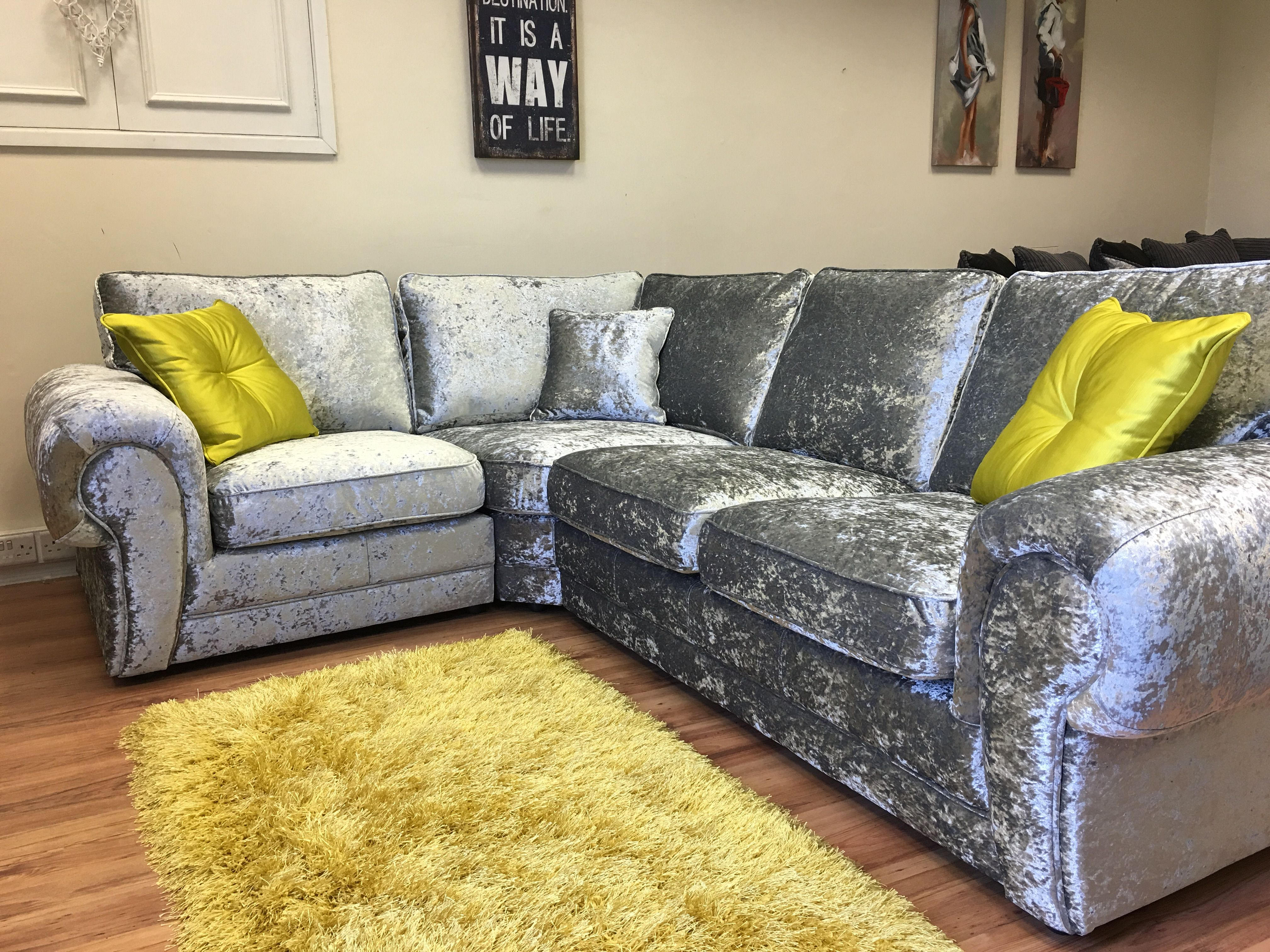Wow Our Tiffany Crushed Velvet corner sofa looks stunning when