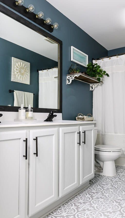 Photo of Blue, Gray, & White $100 Guest Bathroom Reveal | My Homier Home