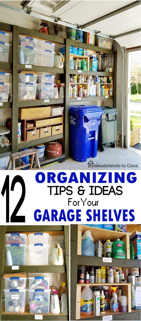 12 organizing tips and ideas for your garage shelves in 2019 garage garage garage. Black Bedroom Furniture Sets. Home Design Ideas