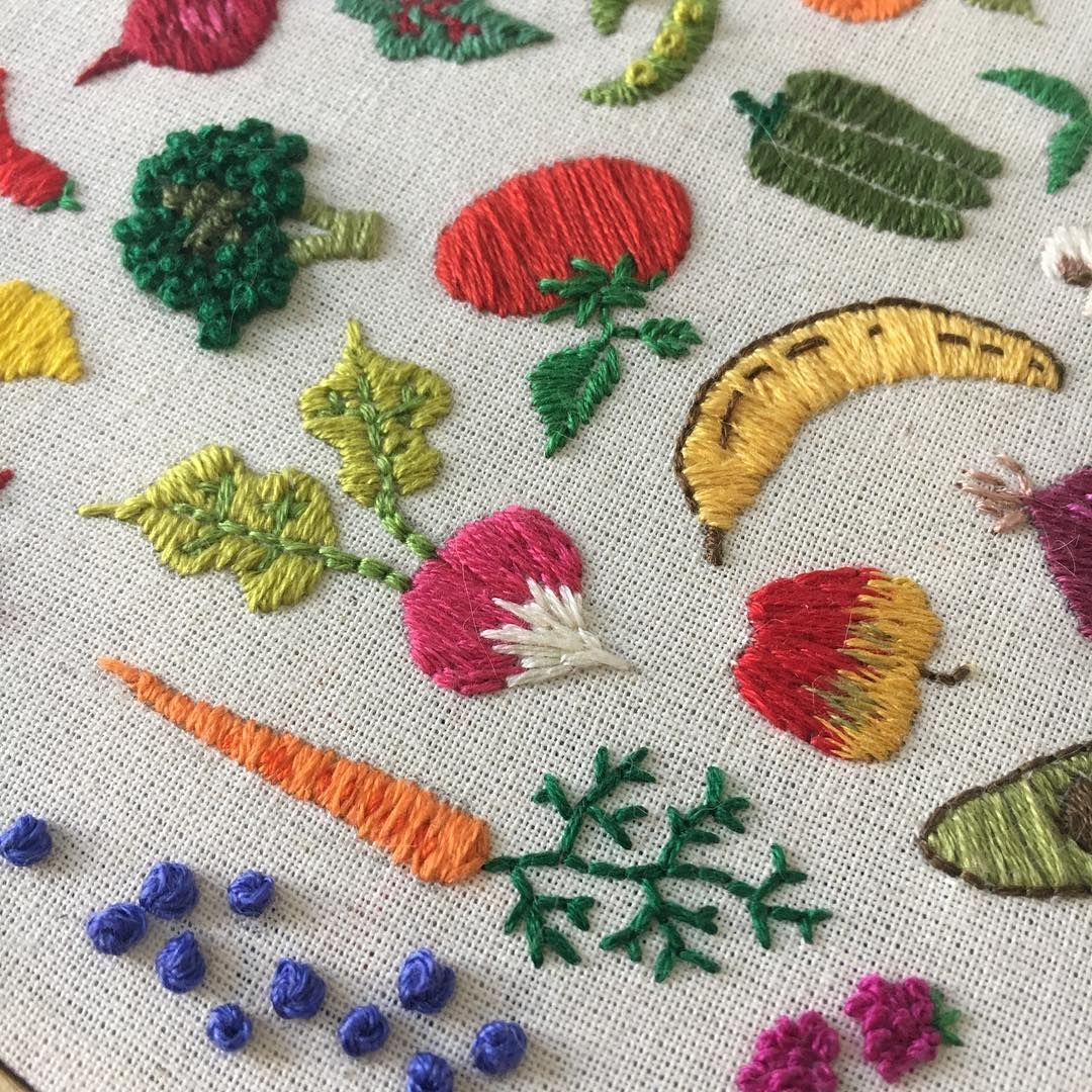Cute vegetable and fruit embroidery by megglamar ...