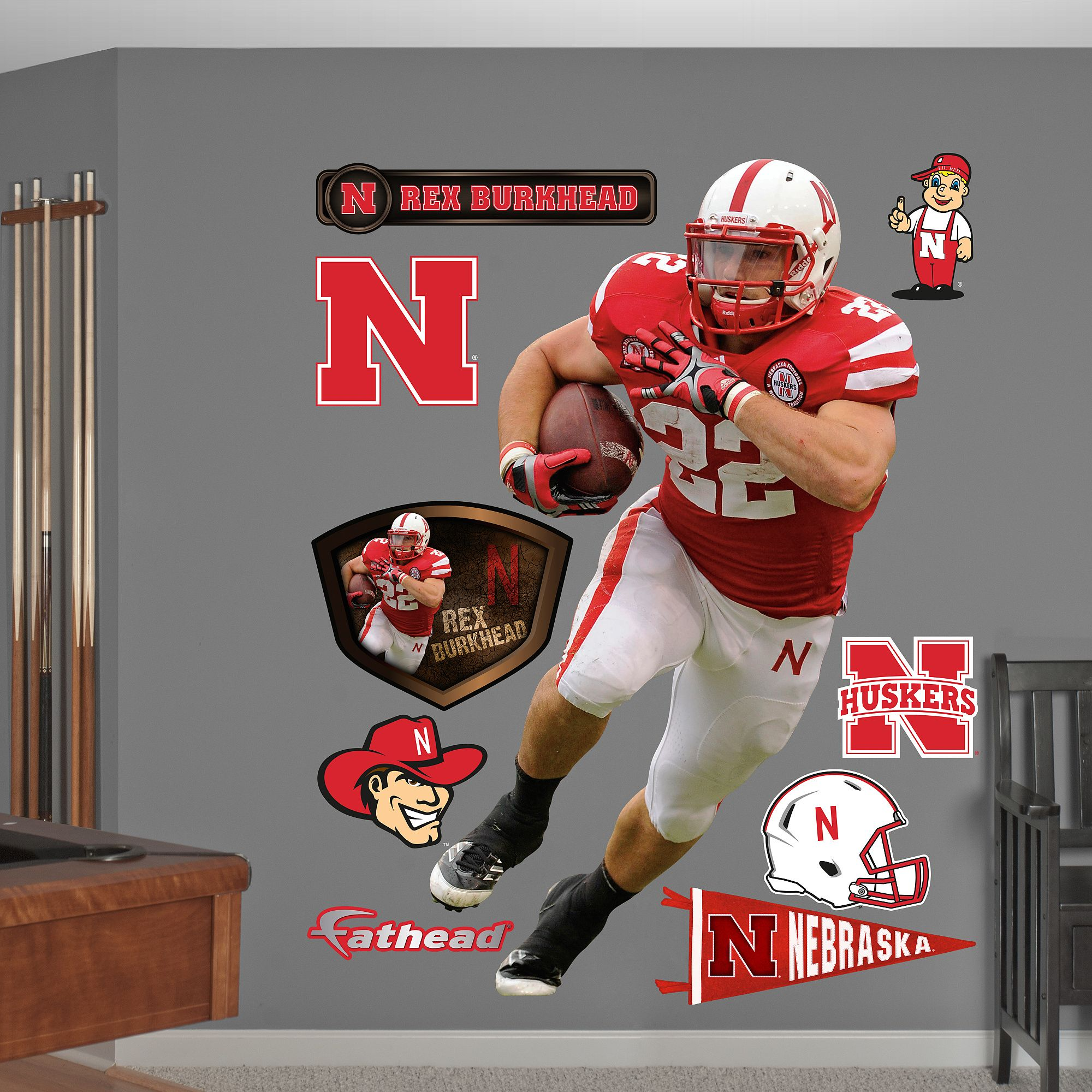 Rex Burkhead Nebraska HuskersGo Big Red Pinterest - Yadier molina wall decals