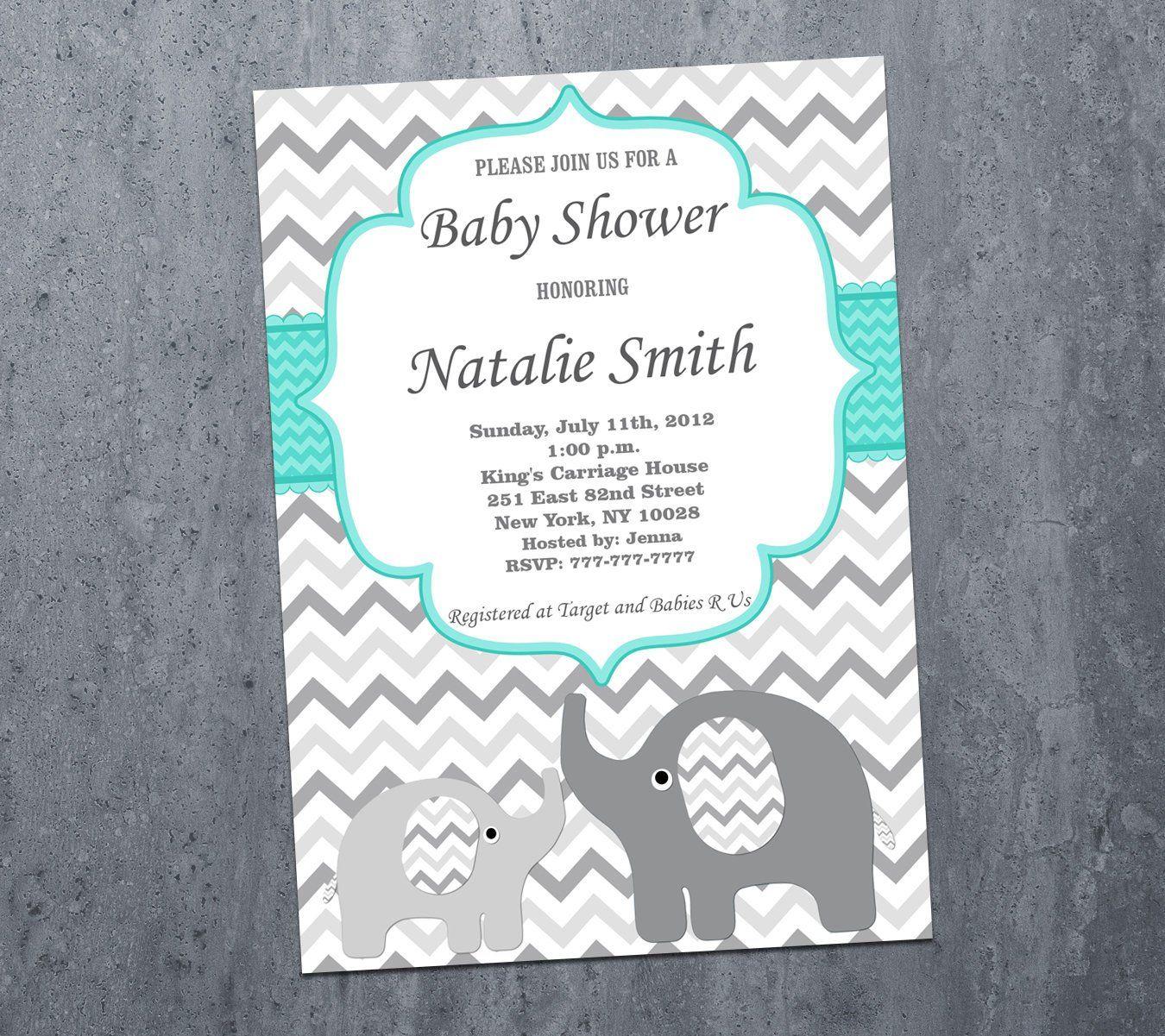 Baby Shower Invitations Boy Girl, Elephant Baby Shower Invitation ...