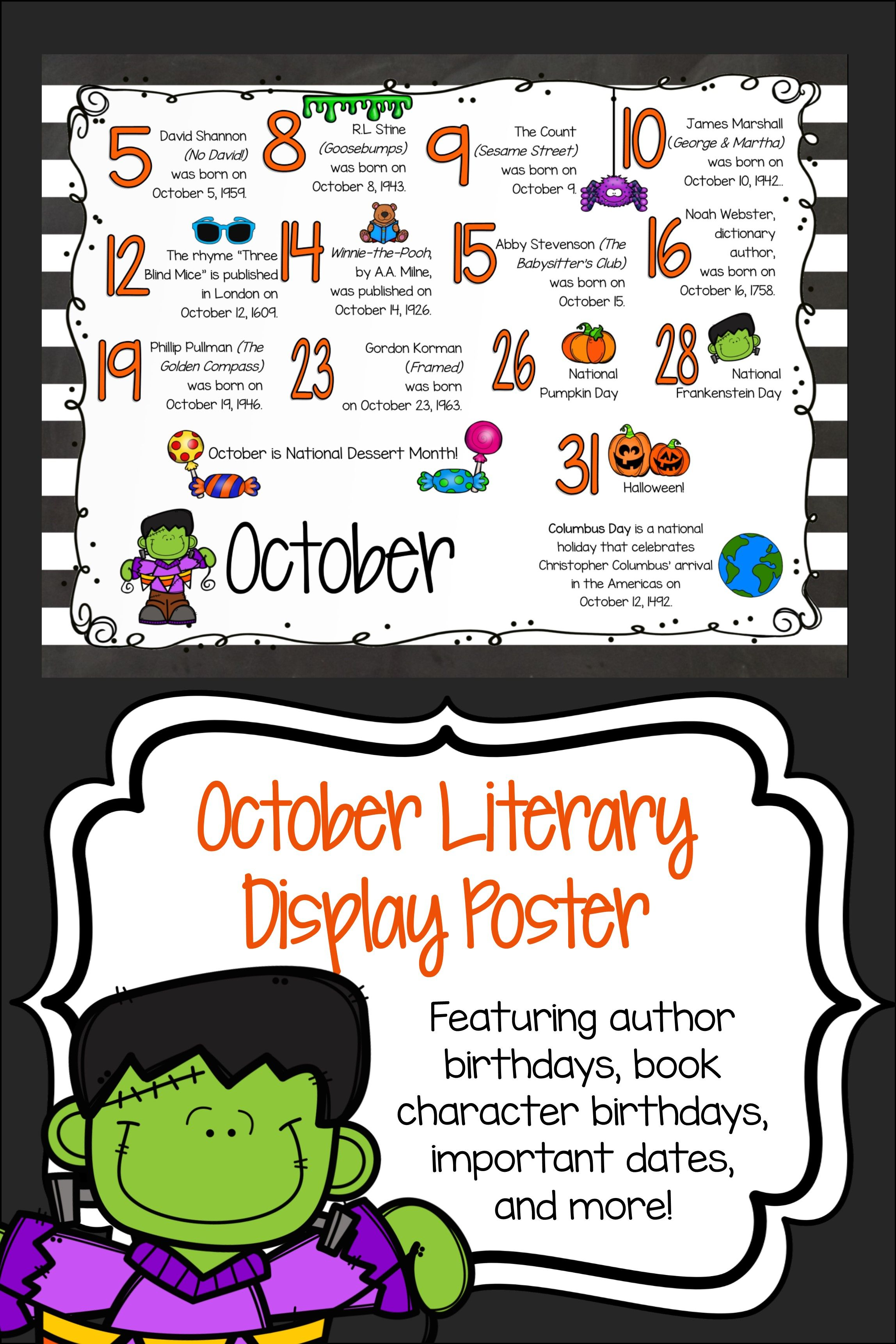 Marshall Center Halloween 2020 Author Birthday, Literary Events and Special Days Display Poster