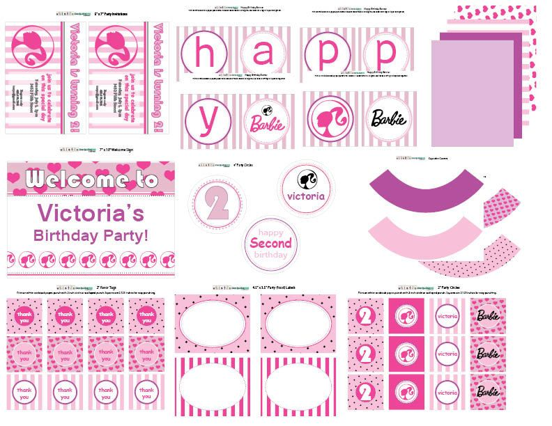 Pink Amp Purple Barbie Printable Collection Via Etsy