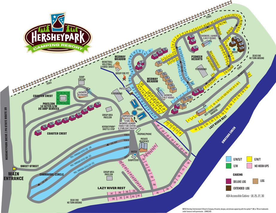 Hershey Park Campground Map Hershey Park Camping Resort (Formerly Highmeadow Campground