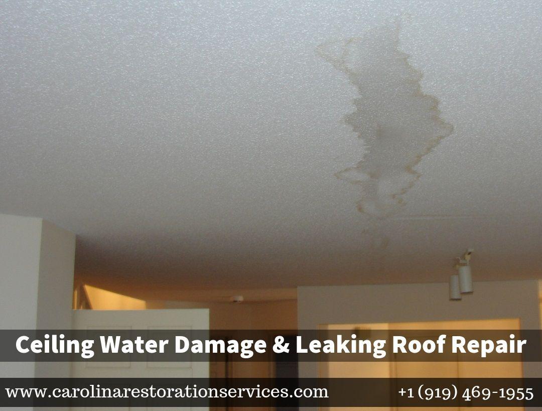 Ceiling Water Damage Leaking Roof Repair In Clayton Nc Roof